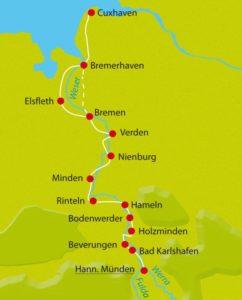 Weser-Radweg von Hann Münden bis Bremen - Quelle: rueckenwind.de